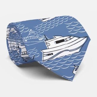 retro boats on blue ocean tie