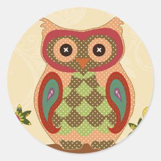 Retro Bohemian Owl Classic Round Sticker
