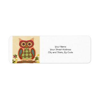 Retro Bohemian Owl Label