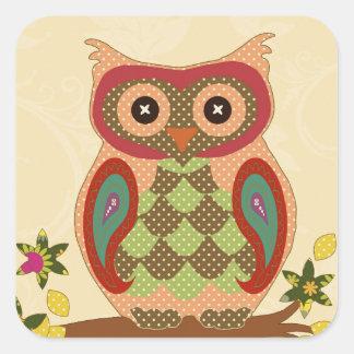 Retro Bohemian Owl Square Sticker