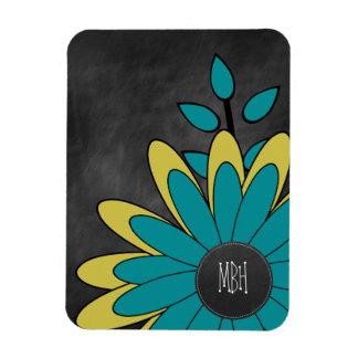 Retro Boho Flower Faux Chalkboard Initials Rectangular Photo Magnet