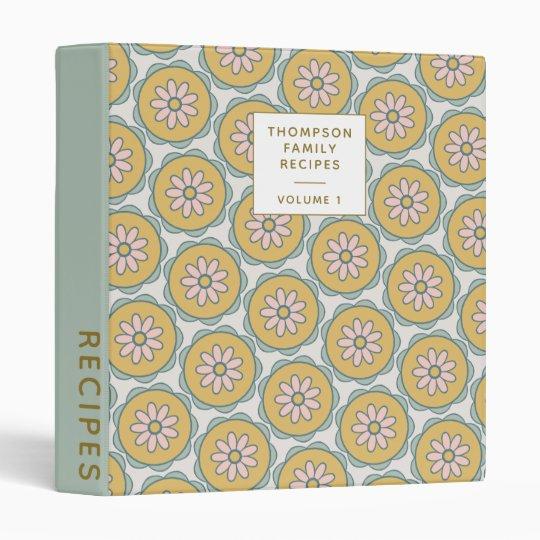 Retro Boho Mandala Flowers Personalized Recipe 3 Ring Binder