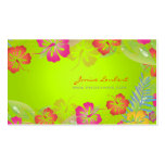 Retro bold tropical flowers business card template