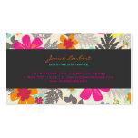 Retro bold tropical flowers calling card business card