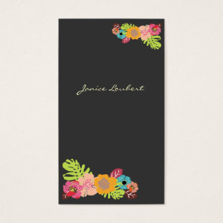 RETRO BOLD TROPICAL FLOWERS/DIY BACKGROUND BUSINESS CARD