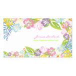Retro bold tropical flowers/eggshell stock business card