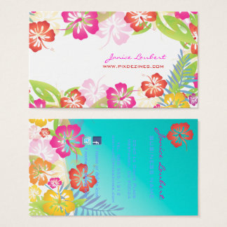 Retro bold tropical flowers/gold stock business card