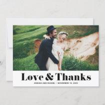 Retro Bold Typography Love & Thanks Photo Wedding Thank You Card