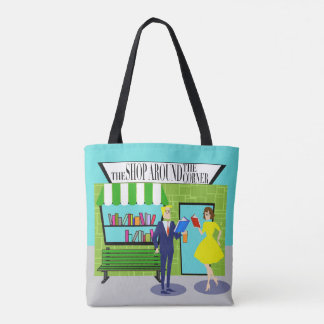Retro Book Lovers All-Over Print Tote Bag