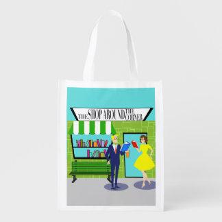 Retro Book Lovers Reusable Bag Grocery Bag