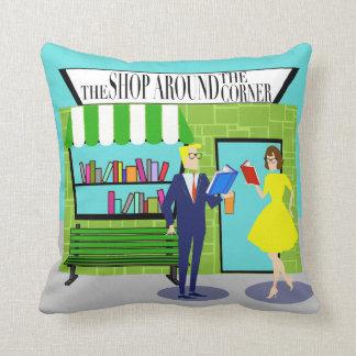 Retro Book Lovers Throw Pillow