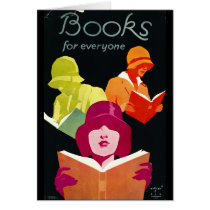 Retro Books Poster 1929 Card