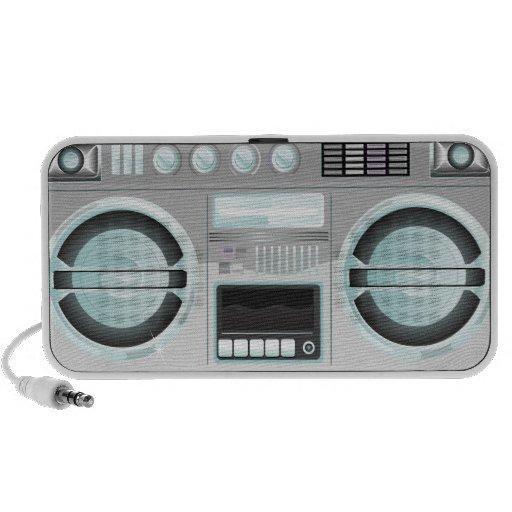 retro boom box ghetto blaster chrome bling speaker system