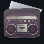 """Retro Boombox Cassette Player Funny laptop sleeve<br><div class=""""desc"""">Funny laptop sleeve featuring a retro boombox ghetto blaster radio cassette player from the &#39;80s. A hip and cool accessory for retro music lovers.</div>"""