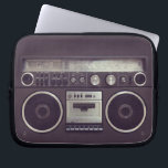 "Retro Boombox Cassette Player Funny laptop sleeve<br><div class=""desc"">Funny laptop sleeve featuring a retro boombox ghetto blaster radio cassette player from the &#39;80s. A hip and cool accessory for retro music lovers.</div>"