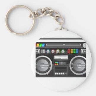 retro boombox ghetto blaster graphic basic round button keychain