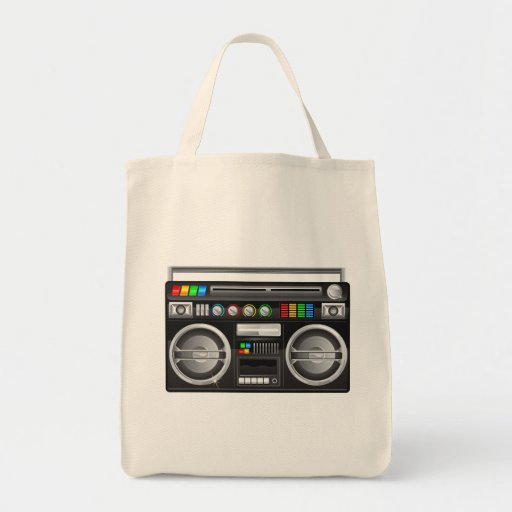retro boombox ghetto blaster graphic canvas bags