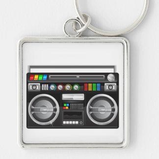 retro boombox ghetto blaster graphic keychain