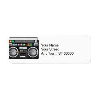 retro boombox ghetto blaster graphic label