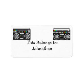 retro boombox ghetto blaster graphic address label