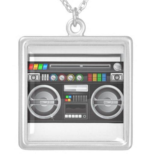 retro boombox ghetto blaster graphic personalized necklace