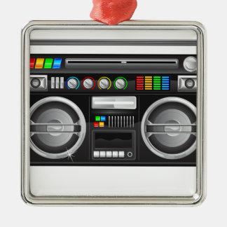 retro boombox ghetto blaster graphic square metal christmas ornament