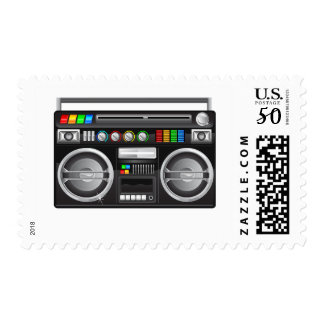 retro boombox ghetto blaster graphic postage