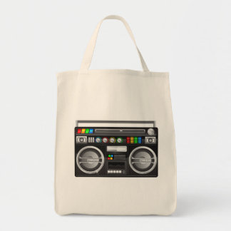 retro boombox ghetto blaster graphic tote bag