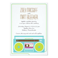 Retro Boombox Indie Mixtape Wedding Blue / Lime Card