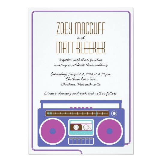 Retro Boombox Indie Mixtape Wedding (Purple/Blue) Card