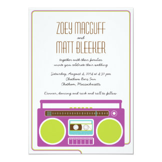 Retro Boombox Indie Mixtape Wedding (Purple/Lime) 5x7 Paper Invitation Card