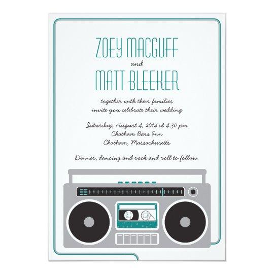 Retro Boombox Indie Mixtape Wedding (Teal / Silver Card