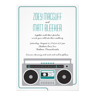 Retro Boombox Indie Mixtape Wedding (Teal / Silver Custom Announcements