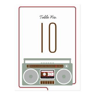 Retro Boombox Indie Wedding (Red / Black) Table Postcard
