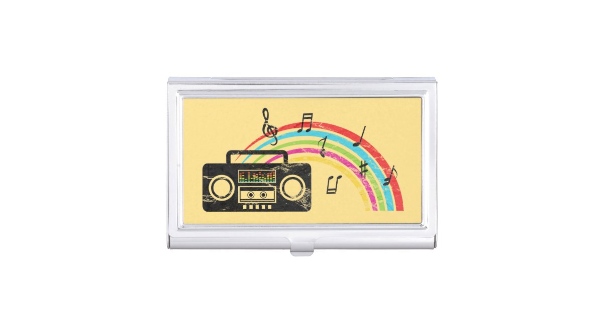 Retro boombox with music and rainbow business card holder   Zazzle.com