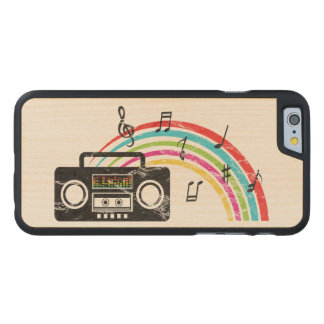 Retro boombox with music and rainbow carved maple iPhone 6 case