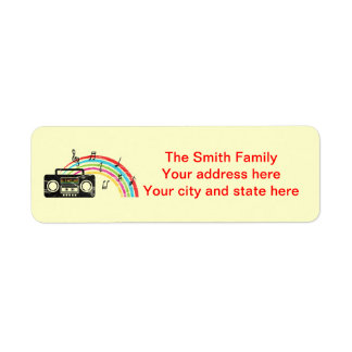 Retro boombox with music and rainbow return address labels