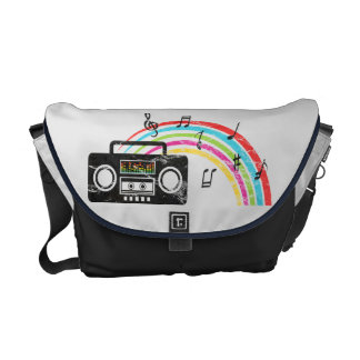 Retro boombox with music and rainbow messenger bag