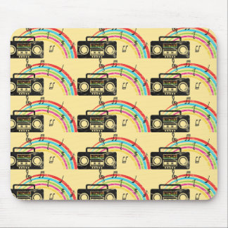 Retro boombox with music and rainbow mouse pad