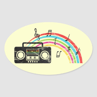 Retro boombox with music and rainbow oval sticker