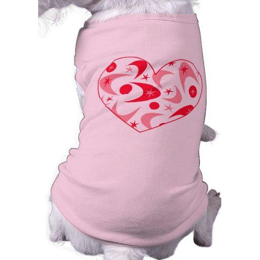 Retro Boomerang Valentine Heart Pet T Shirt