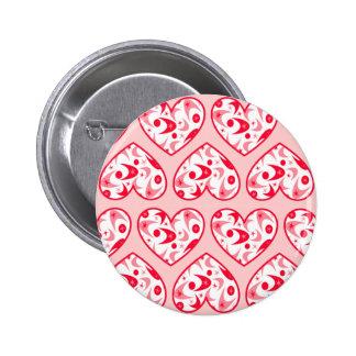 Retro Boomerang Valentine Hearts Pinback Buttons