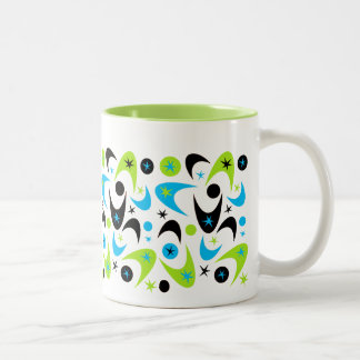 Retro Boomerangs Two-Tone Coffee Mug