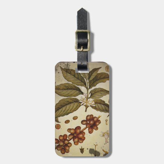Retro Botanical Image Coffee Bag Tag