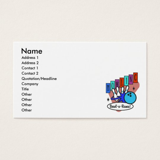 retro bowl-a-rama sign business card