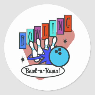 retro bowl-a-rama sign classic round sticker