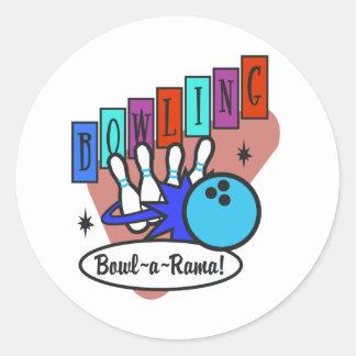 retro bowl-a-rama sign classic round sticker