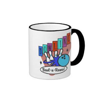 retro bowl-a-rama sign, retro bowl-a-rama sign ringer mug