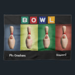 """Retro Bowl, Team Bowling Towels<br><div class=""""desc"""">Unique bowling team gift idea with neon sign Bowl letters and antique pins.  Customize with team name and bowler&#39;s name.  The font,  font color and font size can be customized as well as the location of the names.</div>"""