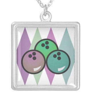 retro bowling balls design square pendant necklace